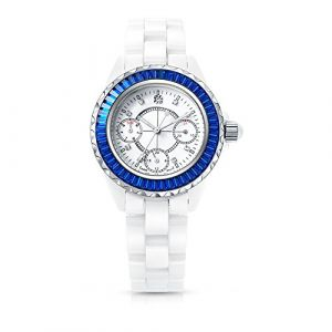 Time100 Montre à Quartz Mouvement Japonaise Femme Bracelet Céramique Mode Haute Technologie Aiguilles Lumineuses Précise Elégante incrustée de Strass avec Dateur (TIME100&Barbie, neuf)
