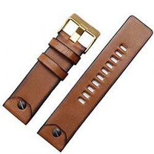 Bracelet Cuir Marron Bracelet 22 24 26mm en Cuir Bracelet de Montre, 1,26mm Boucle d'or (suizhoushizengdouquyuezichuanbaihuodian, neuf)