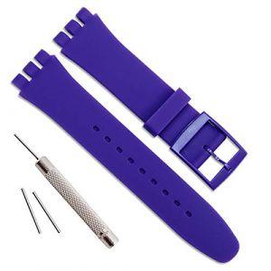 Bracelet de montre étanche en caoutchouc de silicone de remplacement pour Swatch (17mm 19mm 20mm) (19mm, Blue) (ColorBerryFR, neuf)
