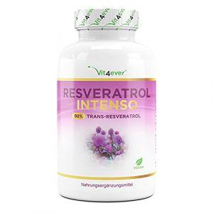 Resvératrol avec 500 mg par gélule - Premium : 98% de trans-resvératrol provenant d'un extrait de racine de renouée japonaise herbacée - 60 gélules - Testé en laboratoire - Dosage élevé - Végétalien (Vit4ever, neuf)