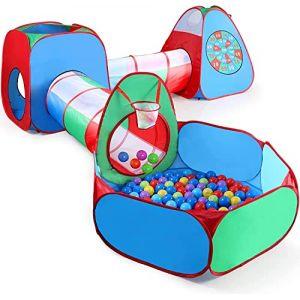 STLOVe Tente Tunnel Enfant,Personnalisé Tente Escamotable Extérieure pour Tente Escamotable avec Piscine pour Enfants (sans Ballon),5 en 1 Tente Pop-Up?8 Balles+1 Panier de Basket+4 Fléchettes (ST love, neuf)