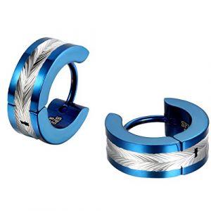 JewelryWe Bijoux Boucles d'oreilles Homme Forme Plume Anneaux à Charnière Bling Bling Acier Inoxydable Fantaisie Couleur Argent Bleu (JewelryWe Bijoux, neuf)