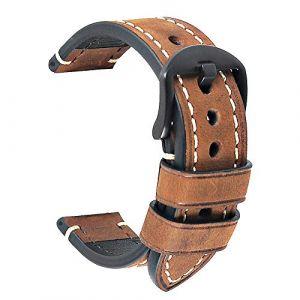 HVDHYY Bracelet de Montre en Cuir Homme Montres Vintage Bretelles Crazy Horse Ceinture Montres pour Bracelet pour Homme Classique Remplacement Panerai Watch Band adapté Marron 22mm (HVDHYY®, neuf)