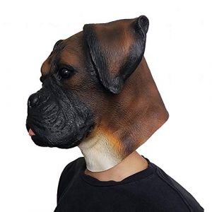 Bouledogue Chien Tête Animal Masque Partie Exposition Latex Coiffures Halloween Ambiance Props (WyaEU, neuf)