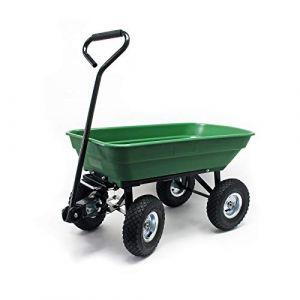 WilTec Chariot de Jardin à Main avec Benne basculante Volume 55L Capacité de Charge 200Kg Remorque Brouette (WilTec Wildanger Technik GmbH, neuf)