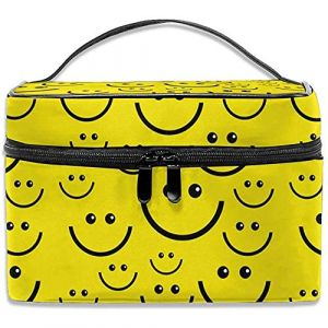Smiley Face Make up Bag Sac À Cosmétiques Pouch Large Toiletry Organizer Voyage Pour Femmes Hommes Fille (Fun-World, neuf)
