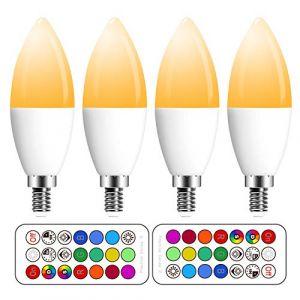 Ampoule LED RGBW avec Télécommande Sans Fil,Changement de Couleur Dimmable LED Bulbs,3W (=20W Ampoule Halogène), Blanc Chaud, 2700K, Culot E14, Lot de 4 unités,Lampe d'ambiance(4 Pack E14 +2700K) (lvhuan12, neuf)