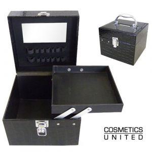 Vanity maquillage croco noir matelassé (Cosmetics United Boutique, neuf)