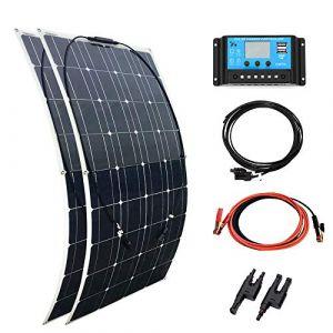 XINPUGUANG Kit solaire 200w Watt 2pcs 100 W Panneau solaire flexible monocristallin 18v + 20 A Contrôleur 12v / 24v + Câble MC4 pour chargeur de voiture pour caravane RV 12v batterie Camper (200W) (XinPUGUANG, neuf)