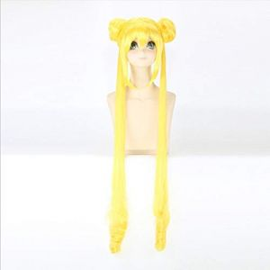 Nouveau marin lune Tsukino Usagi longue bouclée Blonde Double queue de cheval synthétique Cosplay perruque pour fille Costume fête   Orange (sipingshihengdeshangmao youxiangongsi, neuf)