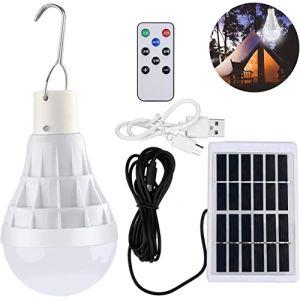 TechKen Solaire alimenté Ampoule Led, Lampe Urgence Solaire rechargeable avec télécommande pour extérieur, randonnée, Camping, tente de pêche (Weapow, neuf)