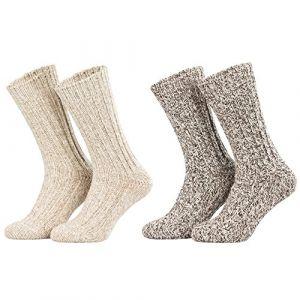 Piarini - Lot de 4 paires de chaussettes norvégiennes chaudes - beige chiné - taille 35-38 (Textil-Muller, neuf)