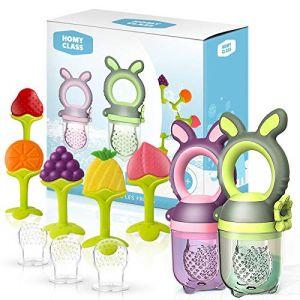 HOMY CLASS - Tétine alimentation bébé tetine grignoteuse bebe sucette tetine fruits mangeoire bebe jouet dentition bébé + 6 tétines sans BPA + anneau dentition réfrigérant (Pack 5) (startup-store, neuf)