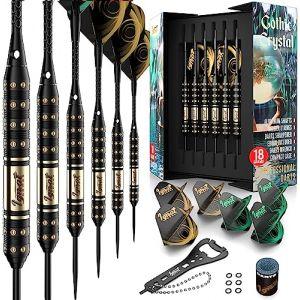 IgnatGames Jeu de Flechettes Pointes Acier - Jeux de Fléchettes Traditionnel avec Tiges en Aluminium et 2 Styles de Ailettes + Aiguiseur de Pointes + Étui Magnétique (IgnatGames, neuf)