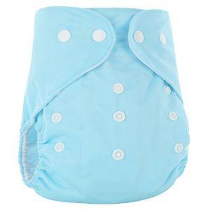 Happy Cherry Couche Lavable Bébé Fille Garçon Couche-Culotte Respirant Anti-Fuite Culotte d'Apprentissage Imperméable Bouton Taille Réglable Imprimé (Sans Insert) 3-15kg Azur (OUJINGEU, neuf)