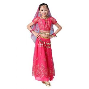 FEOYA Déguisement Orientale Enfant Robe Danse du Ventre Fille Belly Dance Cadeau Noël Déguisement Bollywood Indienne Fille Costume Halloween Enfant Rose Rouge 8-10 Ans (GAOCHENGEU, neuf)