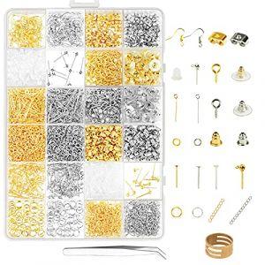 ZoomSky Kit Fabrication de Bijoux, 2416 Pcs Kit Bijoux Création Argent Or Fermoir Bracelet Accessoire de Réparation de Bijoux pour DIY Boucles d'oreilles Colliers Bracelets (OS jewellers, neuf)
