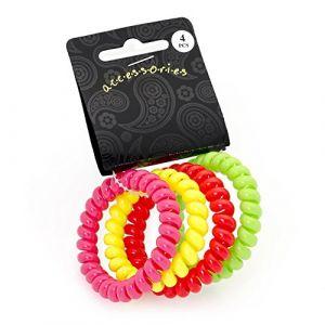 Quatre Pièces de queue Cheveux Bobine d'élastique de couleur Fluo. (Glitz4Girlz, neuf)