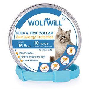 WOLFWILL Collier Anti-puces Chat Collier Antiparasitaire Non-Toxique Anti-allergie Etanche Durée 10 Mois pour Chat avec Longueur 39cm Ajustable (LK Mall, neuf)