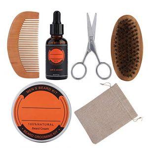 Baume de soin de la barbe, 6pcs Kit Baume de soin de la barbe + huile de barbe + peigne + brosse + barbe ciseaux + sac pour homme moustache barbe (Kireina-eu, neuf)