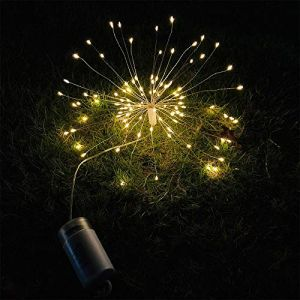 Volwco 2 Pièces Guirlande Lumineuse à Piles avec Télécommande, 120 LED Lumière de Feux d'artifice Lumières Féériques avec 8 Modes et IP44 Imperméable, Lumières de Fée pour Intérieur Extérieur (NC-Three, neuf)