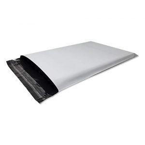 Lot de 100 Enveloppes plastique blanches opaques A4 250 x 350 mm,pochettes d'expédition 25x35 cm 60 microns. Enveloppe plastique fine 13g, légère, solide, inviolable et imperméable. (solutions-imprimerie, neuf)