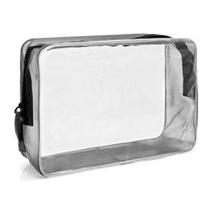 MyGadget Pochette de Voyage en Plastique Transparent pour Avion Bagage Cabine - Trousse Maquillage & Cosmétiques PVC Imperméable - Taille L (DBSW Trading GmbH, neuf)
