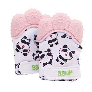 Paquet de 2 gants de dentition en silicone de qualité alimentaire, mitaine de dentition pour bébés, jouets de dentition pour bébé… (Rose) (Buerni, neuf)