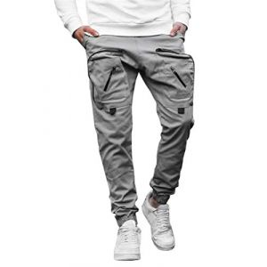 ORANDESIGNE Pantalons Cargo Homme Pantalon Sport Multi Poches Slim Fit Casual Mode Pantalons Jogging Gris XS (Wowmart Zoo X., neuf)
