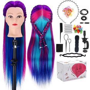 Tête d'exercice à coiffer coiffurer, MYSWEETY tête a coiffer professionnelle 71cm 100% Cheveux Fibre Synthétique pour Salon de Coiffer Enfant, Violet-bleu Tête Mannequin avec Table Support (Mysweety, neuf)