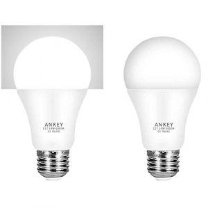 Lot de 2 ampoules LED capteur 10 W E27 avec capteur crépusculaire de lumière blanche froide 6000 K Auto On/Off pour porche, couloir, garage (ANKEY HOME, neuf)