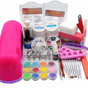 Warm Girl Kit professionnel 25 en 1 pour nail art en gel UV 9 W lampe séchoir pinceau polissoir outil ongles colle acrylique paillettes (Nail Center, neuf)
