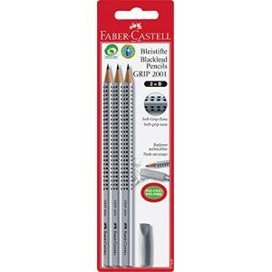 Faber-Castell 117097 Lot de 3 crayons à papier Grip 2001 avec 1 gomme (Import Allemagne) (Stock Bureau Maison Bien-être, neuf)