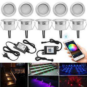 Lot de 10 Bluetooth RGBWW LED Spot Encastrable Extérieur, Ø45mm Dimmable Mini spot Lampe au Sol Spot Encastrable, Etanche IP67 DC12V Spot Piscine Spot Escalier pour Terrasse Bois (RGB+Blanc Chaud) (MeiMai, neuf)