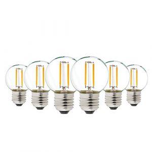G40 LED Filament Mini Globe String Ampoule AC/DC 12-24V Basse Tension Edison Ampoule 1W E27 Vis Base Blanc Chaud 2700K 10W Remplacement pour la décoration, Non-Gradable, 6-Pack (Genixgreen, neuf)