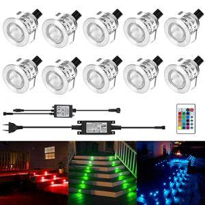 Kingwei 10 Set RGB Mini LED Spots Encastrables Lampe de Spot A LED IP67 Étanche Encastré Alimentation 12V Pour Terrasse Jardin (ezon europe, neuf)