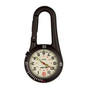 Klox Montre de Poche Unisexe Visage Blanc Métal Noir Analogique Mouvement à Quartz avec Clip Noir sur Mousqueton (Bullahshah, neuf)
