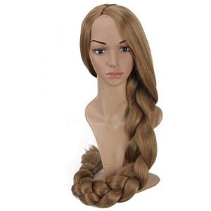 Raiponce Longue Perruque Brun Clair Tressé Ponytail Halloween Party Cheveux Adultes (Hairdressing supplies, neuf)