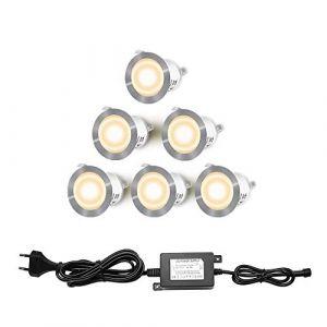 Lot de 6 Spots LED Encastrable pour Terrasse Bois, Etanche IP67, Spots à Encastrer Extérieur, 0,6W DC12V, Lumière Blanc Chaud, Kit Mini Lampe pour Chemin Contremarches d'escalier Plafond (AKOR, neuf)