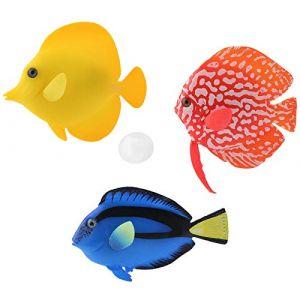 Keleily Poisson Artificiel Flottant 3 Pièces Poisson Artificiel Aquarium Poisson Lumineux Faux Poisson Simulation Poisson Aquarium Décoratif pour Aquarium, Paysage Aquarium, Rouge, Bleu, Jaune (Keleily, neuf)