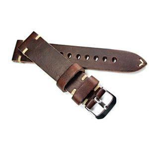 RIOS Bracelet en cuir avec couture blanche 20mm Style rétro Fait main en Allemagne Marron foncé (Sammlerparadies, neuf)