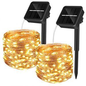 Yizhet Guirlande Lumineuse Exterieur Solaire 12m 120 LED Guirlande Guinguette Solaire Exterieure Étanche 8 Modes Décoration Lumière pour Jardin, Terrasse, Cour, Maison, Noël, Mariage, Fête (Swenni Tech, neuf)