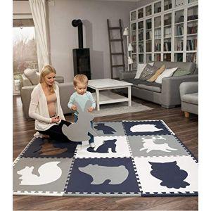Grand tapis de jeu en mousse pour bébés, 1,85 x 1,85 m | 9 dalles en mousse imbriquées | tapis puzzle 20% plus épais et doux pour ramper et avec sac de rangement | 100% sûr, sans odeur, ni formamide (HakunaMatte, neuf)