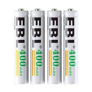 EBL AAAA Piles Rechargeable 400mAh NI-MH 1,2V LR21 E96 Lot de 4 pour Stylet Actif, écouteur, etc. avec Boîte de Stockage pour Piles (EBL Official, neuf)