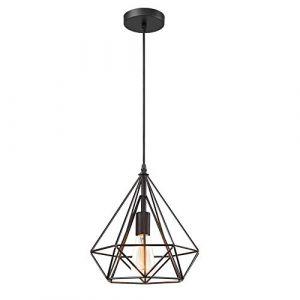 iDEGU Suspension Luminaire Vintage Lustre en Forme de Diamant en Métal Plafonnier Lampe Suspension pour Chambre Salon Restaurant - Diamètre 25cm (Noir) (IDEGU, neuf)