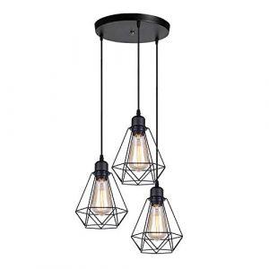 iDEGU 3 Lampes Suspension Luminaire Industrielle Métal Lustre Suspension Style Cage Géométrique E27 Lampe Suspension Vintage - Noir - Ø 20cm - Support en Cercle (IDEGU, neuf)