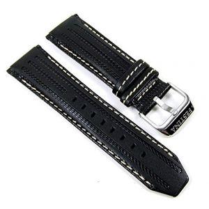 Festina Bracelet de Montre de rechange en cuir Band 25mm noir/blanc F16489/1F16489F16488 (Natascha Keisler_1, neuf)