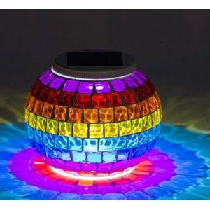 Lampe solaire ronde et étanche en mosaïque de verre avec LED à changement de couleur pour décoration intérieure ou extérieure (ZONCENG1, neuf)