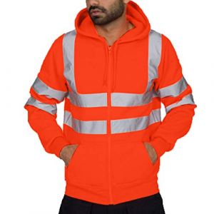 Coloré(TM) Hommes Sweatshirt Travaux Routiers Haute Visibilité Arrêtez-Vous Manche Longue Sweat à Capuche Tops Blouse (2XL, Orange) (colorful_JYC, neuf)