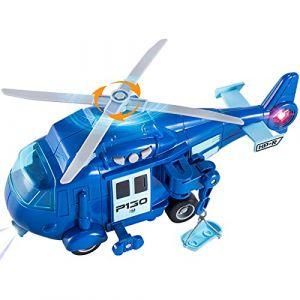 HERSITY Hélicoptère de Secours Jouet Friction Voiture avec 3 Sons et 2 Lumières Jeux de Rôle Cadeau de Noël pour Enfant Garçon Fille 3 4 5 Ans (1:20) (Hersity fr, neuf)